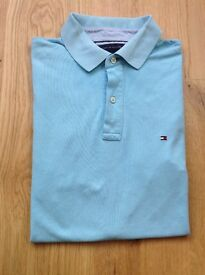 Genuine Tommy Hilfiger Light Blue Cotton Polo Shirt - Size = Large