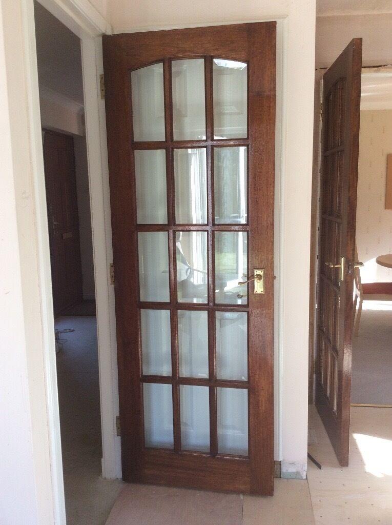 15 Pane Mahogany Bevelled Glass Doors In Haddington East Lothian