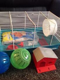 Small animal , mice or hamster cage with accessories
