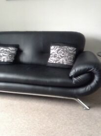 3 & 2 seater-black faux leather sofas for sale