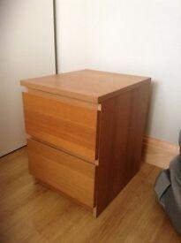 Oak effect IKEA malm bedside drawer unit