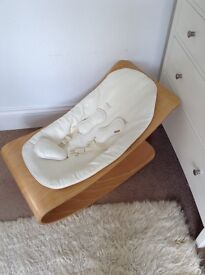 Baby rocker cream leather and wood by Bloom from John Lewis unused, perfect condition