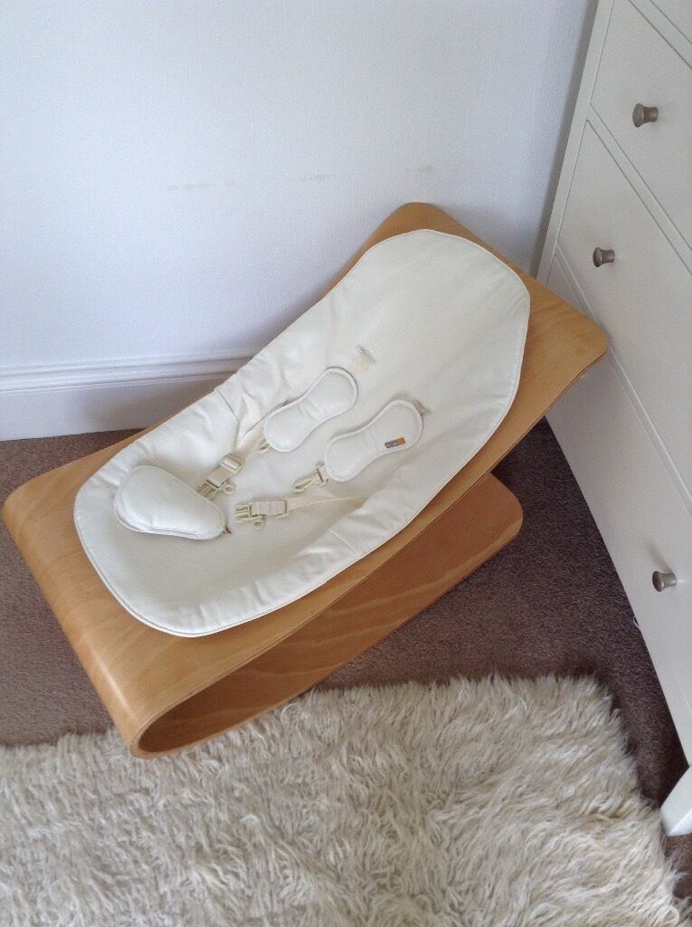 baby rocker cream leather and wood by bloom from john lewis unused