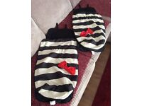 Twin FOOTMUFF COSY TOES FIT BUGGY With bottle holders and a matching bag.