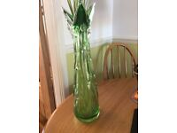 BEAUTIFUL - TALL - ANTIQUE - VINTAGE- EMERALD GREEN / CLEAR - CUT GLASS - VASE