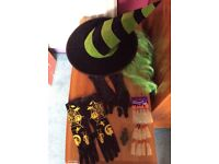 Halloween fancy dress kids witches hat, nose, fingers and gloves