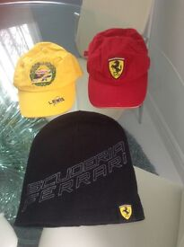 Kids Ferrari Hats x3