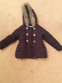 Girls Black Padded Coat with Fur Trim