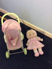 Girls dolls pram and doll