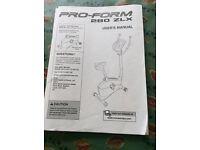 Pro-Form Exercise Bike 280 ZLX, hardly used, multi programmes, sturdy, adjusts, BARGAIN BUY!