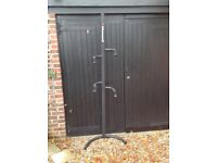 Two bike bicycle stand for garage or shed. Fixed or free standing