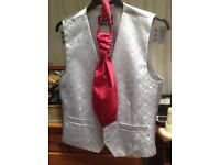 Size small silver waistcoat and cravat worn once in excellent condition