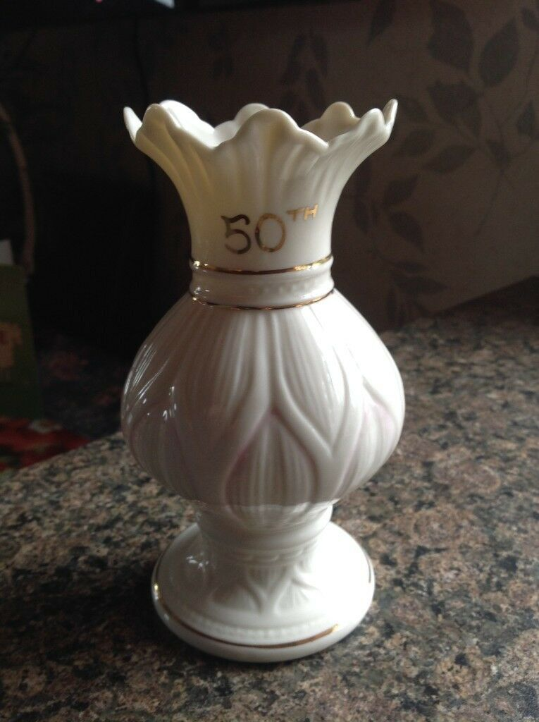 Belleek 50th Wedding Anniversary Lotus Blossom Spill