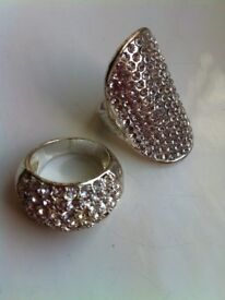 Set of beautiful silver diamante rings. Excellent condition.
