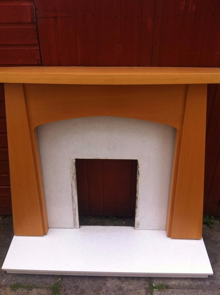 Contemporary Wooden Fire surround with White Marble back and hearth