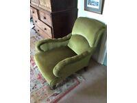 Lovely green velvet Victorian armchair
