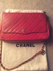 CHANEL Handbag, ORIGINAL, Classic, RED, Lambskin, SEXY, elegant, 1980's, made in PARIS.