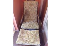 Vintage Italian wooden upholstered rocking chair with stool