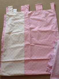 Next pink and white spotted tab top curtains, cotbed duvet cover and pillow case and light shade