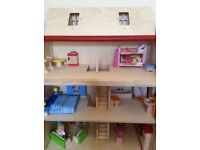 Pintoy Wooden Dolls House, with dolls and furniture