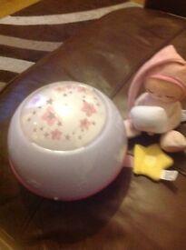 Baby girls night light and teddy