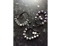 AS NEW Three Matching Sparkling Shamballa Bracelets and Earrings Sets (Christian Koban Thomas Sabo)