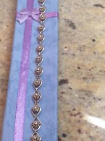 Ladies genuine sterling silver filigree bracelet hallmarked 925