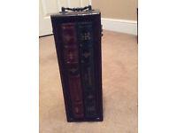 Novelty wooden wine bottle receptacle & Wrought Iron Wine rack