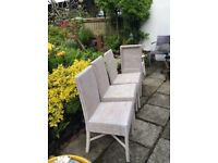 4 painted cane dining chairs