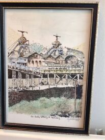 Signed prints of Penallta and Six Bells collieries by Lyndon Richards