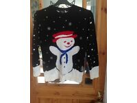 2x Christmas jumpers, snowman and minion