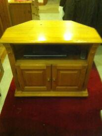 corner pine tv cabinet