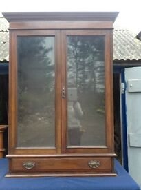 Solid Mahogany, glass fronted bookcase.