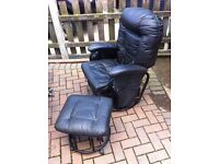 Black Faux Leather Swivel / Rocking Chair and Matching Stool