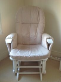 Tutti bambini glider nursing chair and stool, white with beige fabric