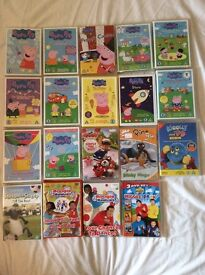 Mixed Childrens DVDs includes peppa pig, the wiggles, woolly and tig, Rory the racing car and pingu