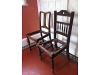 2 Antique Chairs for Up-cycling Upholstery Project/ Can Deliver