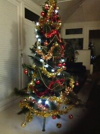 6ft Artificial Christmas Tree With Lights & Red and Gold Decorations
