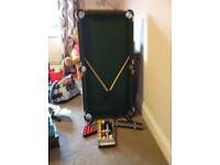 Snooker/pool table inc. balls, cues, frames etc.