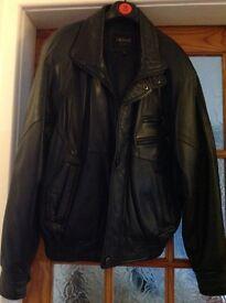 """Lakeland men's black leather bomber jacket, size 38"""""""