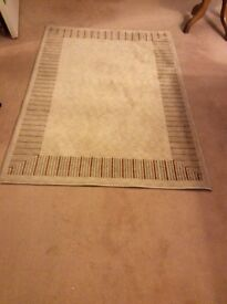 Marks and Spencer Wool Rug, cream with detail at edge,120x178cm