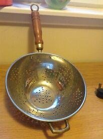 Brass colander/ sieve with wooden handle