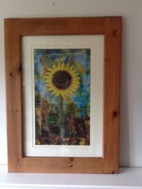 Large framed sunflower picture