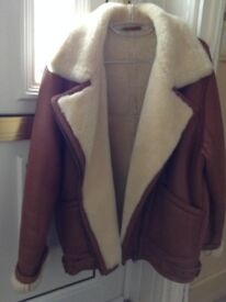Brown Ladies Leather Flying Jacket style with genuine sheepskin lining very good condition