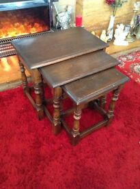 Nest Of Tables, Solid Oak.