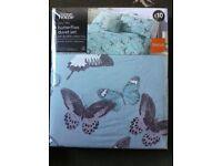 NEW single duvet set, duck egg blue with butterflies