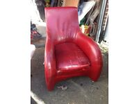 Art Deco style red leather chair