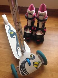 No Fear Roller Boots size 1 - 4 + Zinc scooter Outdoor doors Like £20 New Portadown 07563870358