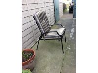 2 sets garden recliners foot stools and small table