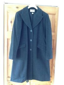 Ladies Grey Wool & Cashmere Coat, Size 14